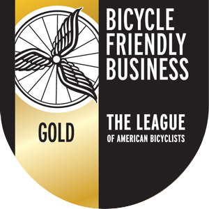 gold-rated bicycle friendly business badge