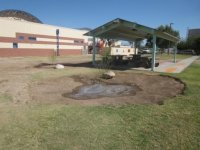 Newly created water harvesting basins capturing rainwater from school and ramada. Trees planted to grow and shade play ground.