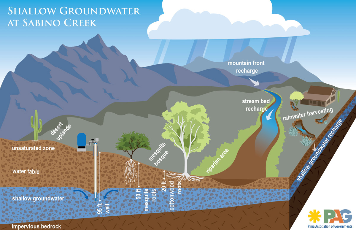 The effects of drought and pumping can have severe and devastating impacts on shallow groundwater dependant creeks and springs. Image credit: Pima Association of Governments