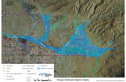 Map of WMG's Flow365 project area for Tanque Verde and Sabino Creeks