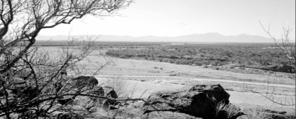 The Santa Cruz River in 1989, facing south toward the Santa Rita Mountains. In place of the mesquite bosque from 1942, there is a dry river bed with little to no vegetation. Photo credit: U.S. Geological Survey.
