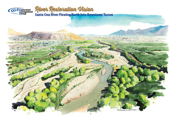 Illustration of WMG's 50-year vision for the Santa Cruz south of Tucson