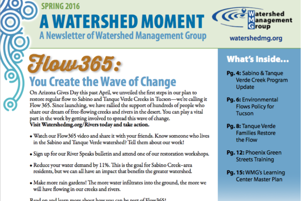 """WMG's Spring Newsletter """"A Watershed Moment"""" newsletter cover"""