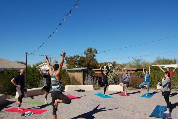 The beautiful west plaza at WMG's Living Lab is the perfect setting for our outdoor community YogaFlow classes.