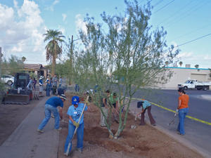 Volunteers work to green the street at Primera Iglesia near downtown Phoenix in 2012.