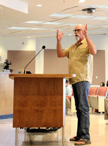 WMG's River Restoration Biologist Trevor Hare speaks at the Pima County Board Meeting in support of Pima County's Resolution to protect water quality.