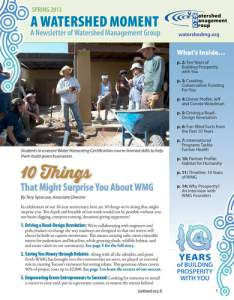 2013 Spring WMG Newsletter cover