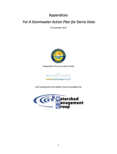 Appendices For A Stormwater Action Plan for Sierra Vista Cover