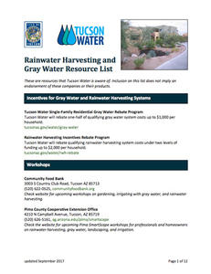 Tucson Water Rainwater Harvesting and Gray Water Resource List cover