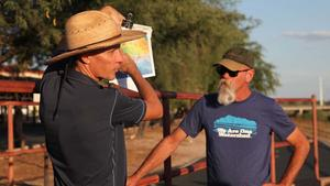 Catlow Shipek, left, and Trevor Hare, from Watershed Management Group, address the Tucson metropolitan area's groundwater situation. (PHOTO: Tony Paniagua, AZPM)