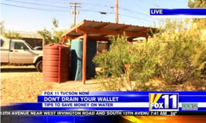 Screen shot of Tucson Water rate hike video featuring saving water with WMG