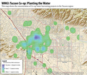 Click to see a larger map of water-harvesting projects installed through the Tucson Co-op
