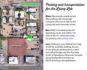Parking map and transportation options for Watershed Management Group and the Living Lab and Learning Center