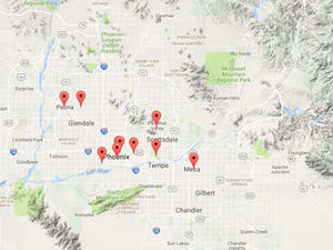 Interactive map of public project sites - Phoenix area