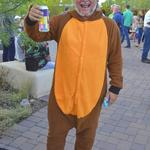 Joaquin poses as a beaver holding one of Tucson's local beers!