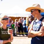 Co-founder Catlow Shipek and event volunteer Brenda Hughey, enjoy the sunny morning.
