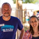 WMG Docent Dan Stormont, and volunteer Emily Rockey, welcome event guests.