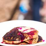Mesquite pancakes are prepared with fresh, local ingredients from the Sonoran Desert.