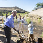 Tucson Mayor Jonathan Rothschild celebrates the Santa Cruz River release! Photo by Nicci Radhe