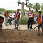 FedEx volunteers working on the rain garden