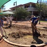 Hard at work preparing the garden site